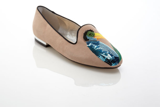 <b>Smoking Loafer with Sequined Bird</b>  $99.90, available in beige and turquoise