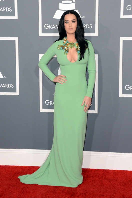 LOS ANGELES, CA - FEBRUARY 10:  Singer Katy Perry arrives at the 55th Annual GRAMMY Awards at Staples Center on February 10, 2013 in Los Angeles, California.  (Photo by Jason Merritt/Getty Images)