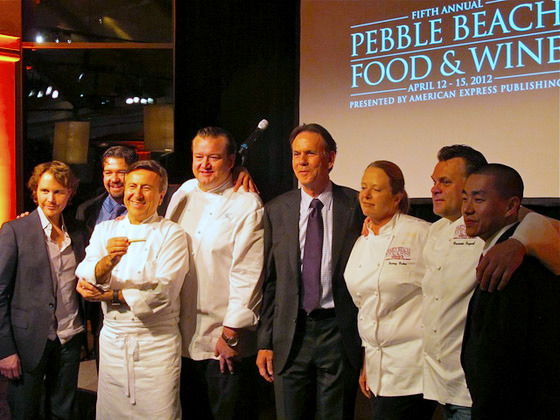 Achatz and Keller posed with the chefs who prepared the meal: Ron Siegel (Ritz-Carlton, S.F., not pictured), Boulud, Michael White (NYC's Marea), Nancy Oakes (Boulevard), Francois Payard, and another Keller protégé, Corey Lee of S.F.'s Benu.