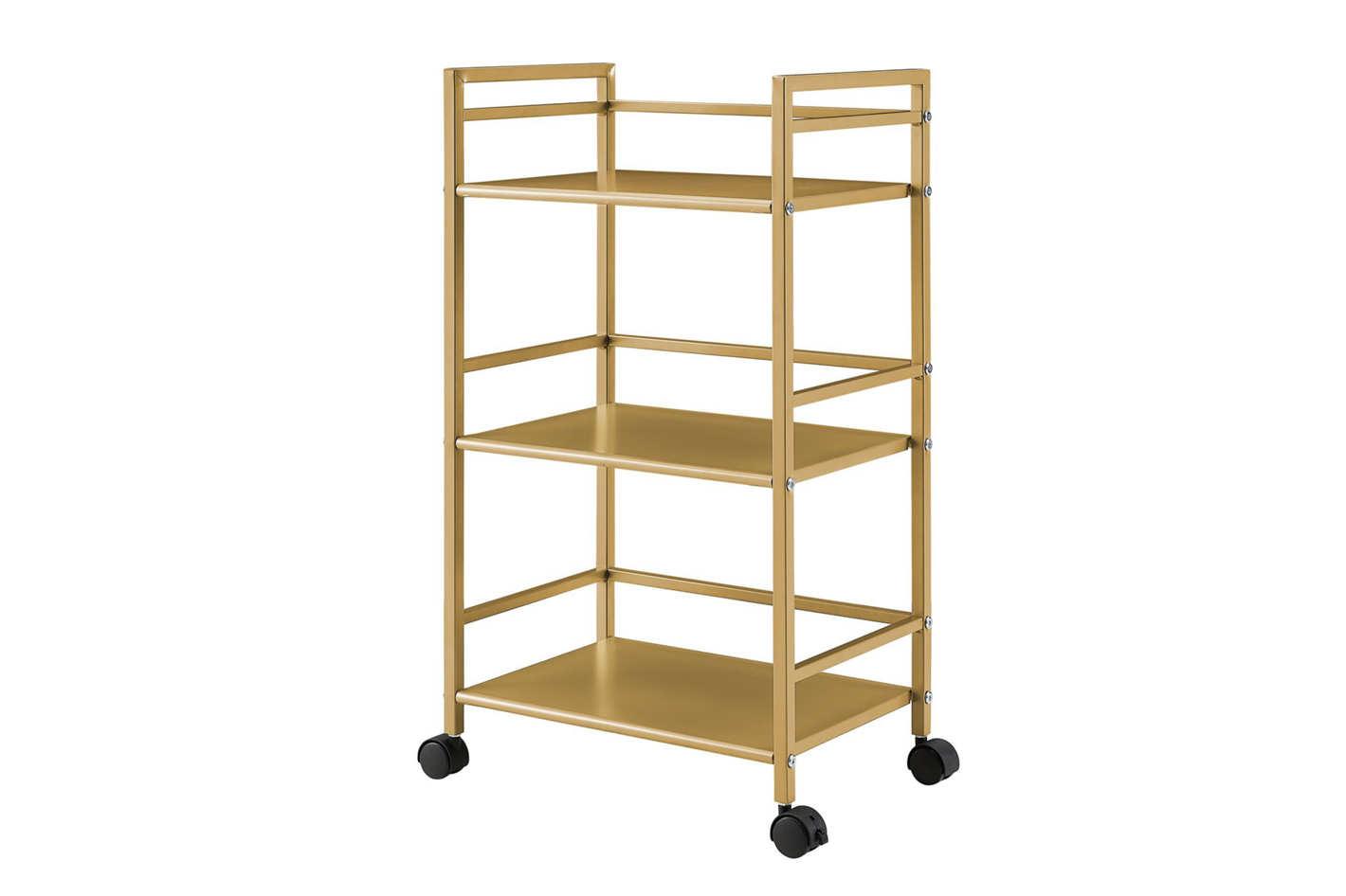 Novogratz Helix 3 Shelf Metal Rolling Utility Cart