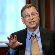 Bill Gates, chairman of Microsoft, during an interview January 30, 2013 in New York on the day he launches his