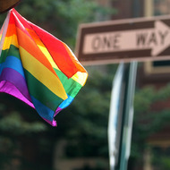 NEW YORK, NY - JUNE 21: The rainbow flag symbolizing gay pride flies from a pole in Manhattan on June 21, 2011 in New York City. The New York Senate has yet to come to a resolution on the issue of same sex marriage. (Photo by Mario Tama/Getty Images)