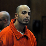Terror suspect Ahmed Ferhani is seen during his arraignment on May 17, 2011 at Manhattan Criminal Court in New York City, New York. Ferhani, who allegedly conspired to blow up synogogues in Manhattan, was caught in a sting operation buying a hand grenade and guns with another accomplice named Mohamed Mamdouh.     AFP PHOTO / Pool / Gregory P. Mango (Photo credit should read Gregory P. Mango (917) 673/AFP/Getty Images)