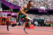 21 Feb 2013, London, England, UK --- Double amputee Oscar Pistorius of South Africa competes in the 400 meters in the 2012 London Olympics.