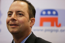 Republican National Committee Chairman Reince Priebus listens to a speaker during a news conference Thursday, July 19, 2012, in Philadelphia.