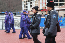 SOCHI, RUSSIA - JANUARY 31: Police security patrol around the Rosa Khutor Mountain Cluster village ahead of the Sochi 2014 Winter Olympics on January 31, 2014 in Rosa Khutor, Sochi. (Photo by Alexander Hassenstein/Getty Images)