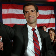 NORTH LITTLE ROCK, AR - NOVEMBER 04:  U.S. Rep. Tom Cotton (R-AR) and republican U.S. Senate elect in Arkansas greets supporters during an election night gathering on November 4, 2014 in North Little Rock, Arkansas. Cotton defeated two-term incumbent democrat U.S. Sen. Mark Pryor (D-AR).  (Photo by Justin Sullivan/Getty Images)