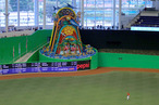 A general view of the new Miami Marlins Park during a preseason game against the New York Yankees during a game at Marlins Park on April 1, 2012 in Miami, Florida. A mechanical sculpture by Red Grooms will animate everytime a home run is hit by a Marlin.