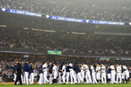 The New York Yankees celebrate the 14-2 win over the Boston Red Sox on October 3, 2012 at Yankee Stadium in the Bronx borough of New York City. With the win, the New York Yankees clinch the A.L. East Division title.
