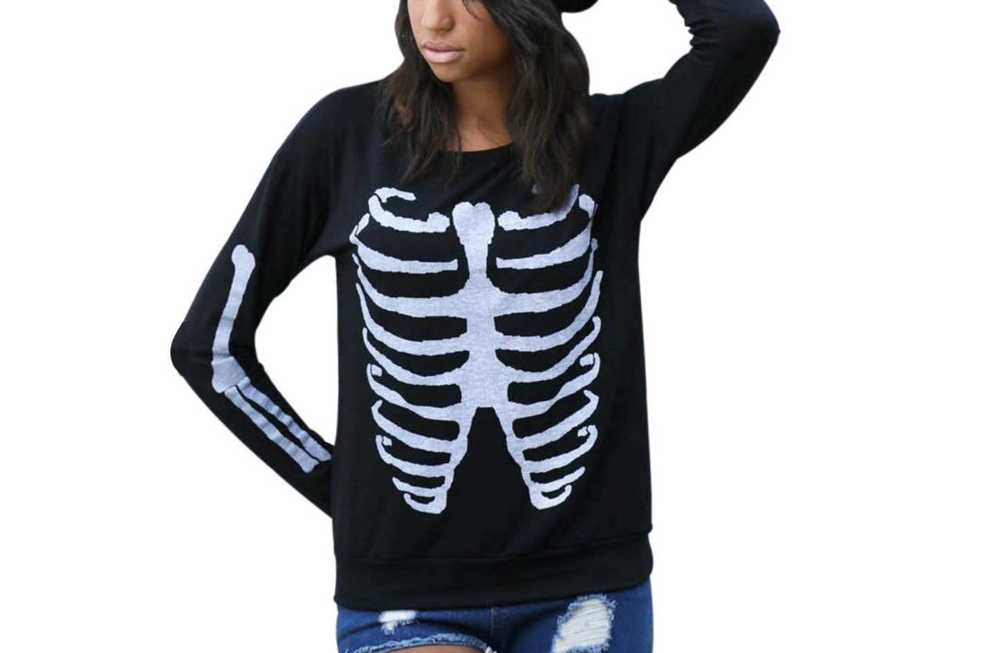 Sumtory Women Halloween Theme Skeleton Print Long Sleeve Sweatshirt Tops