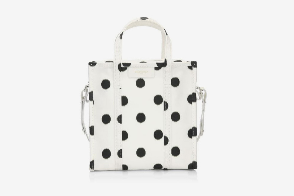 Balenciaga Small Bazar Polka Dot Shopper