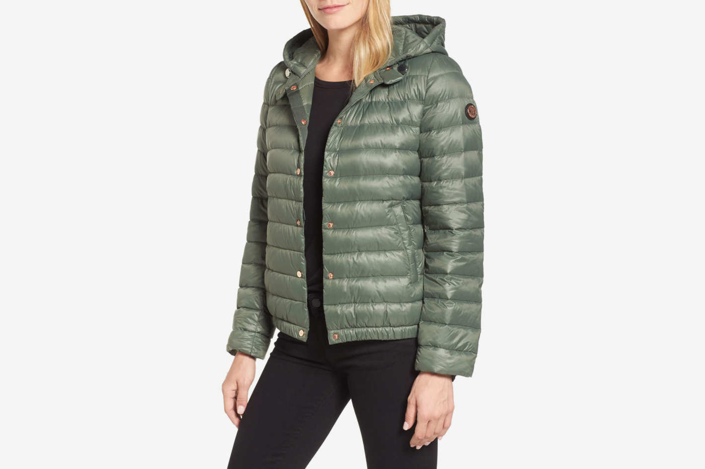Bernardo Water Resistant Insulated Hooded Bomber Jacket