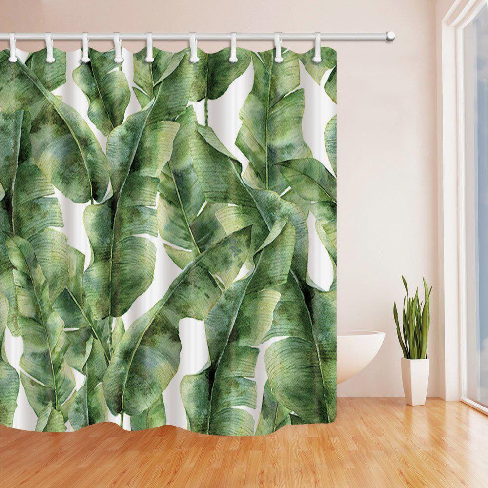 NYMB Banana Palm Leaves Bath Curtain