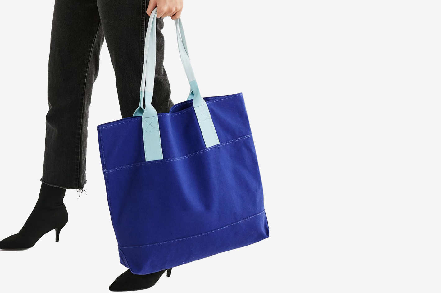Canvas Contrast Strap Tote Bag