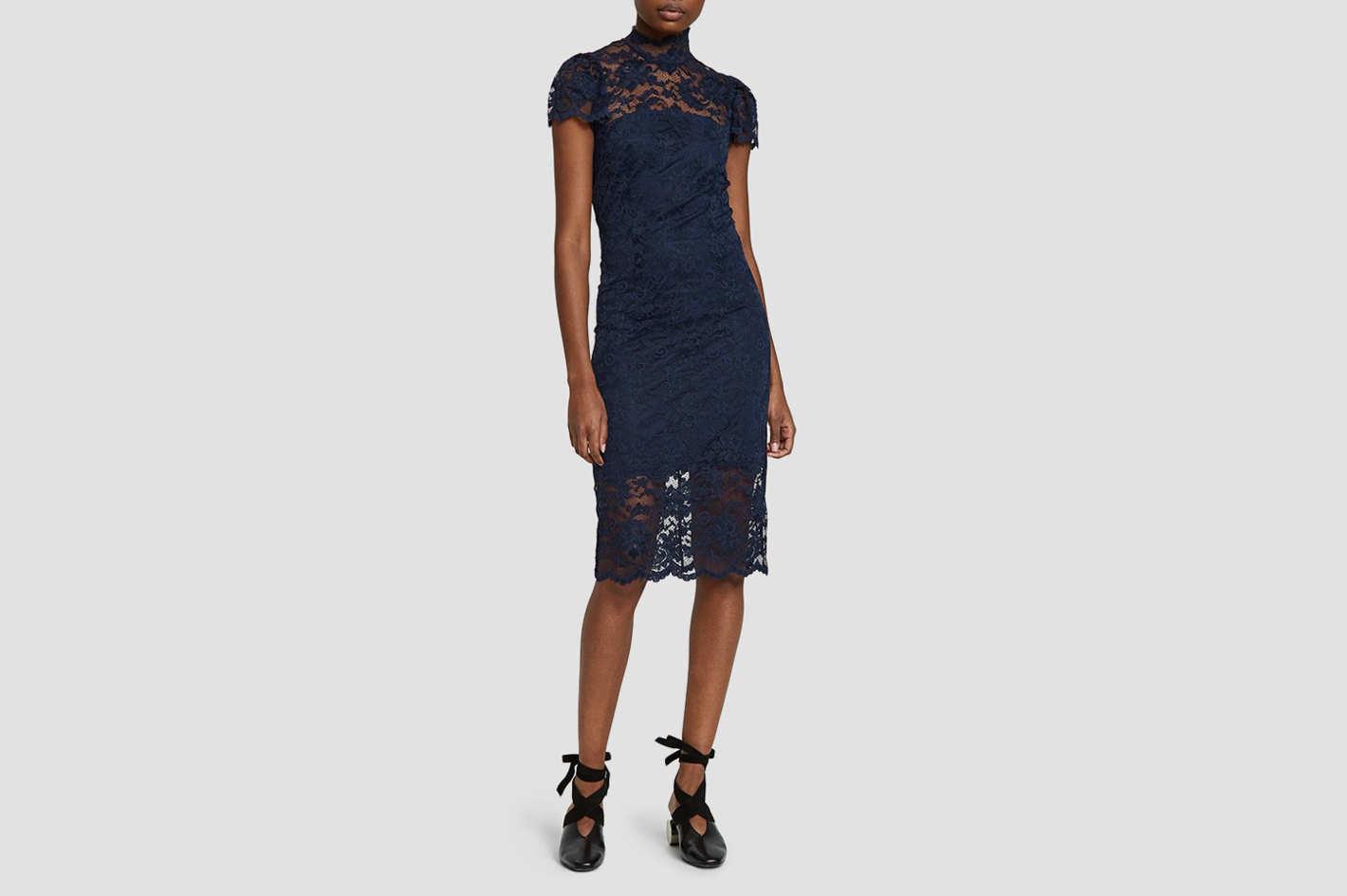 Ganni Flynn Lace Dress in Total Eclipse