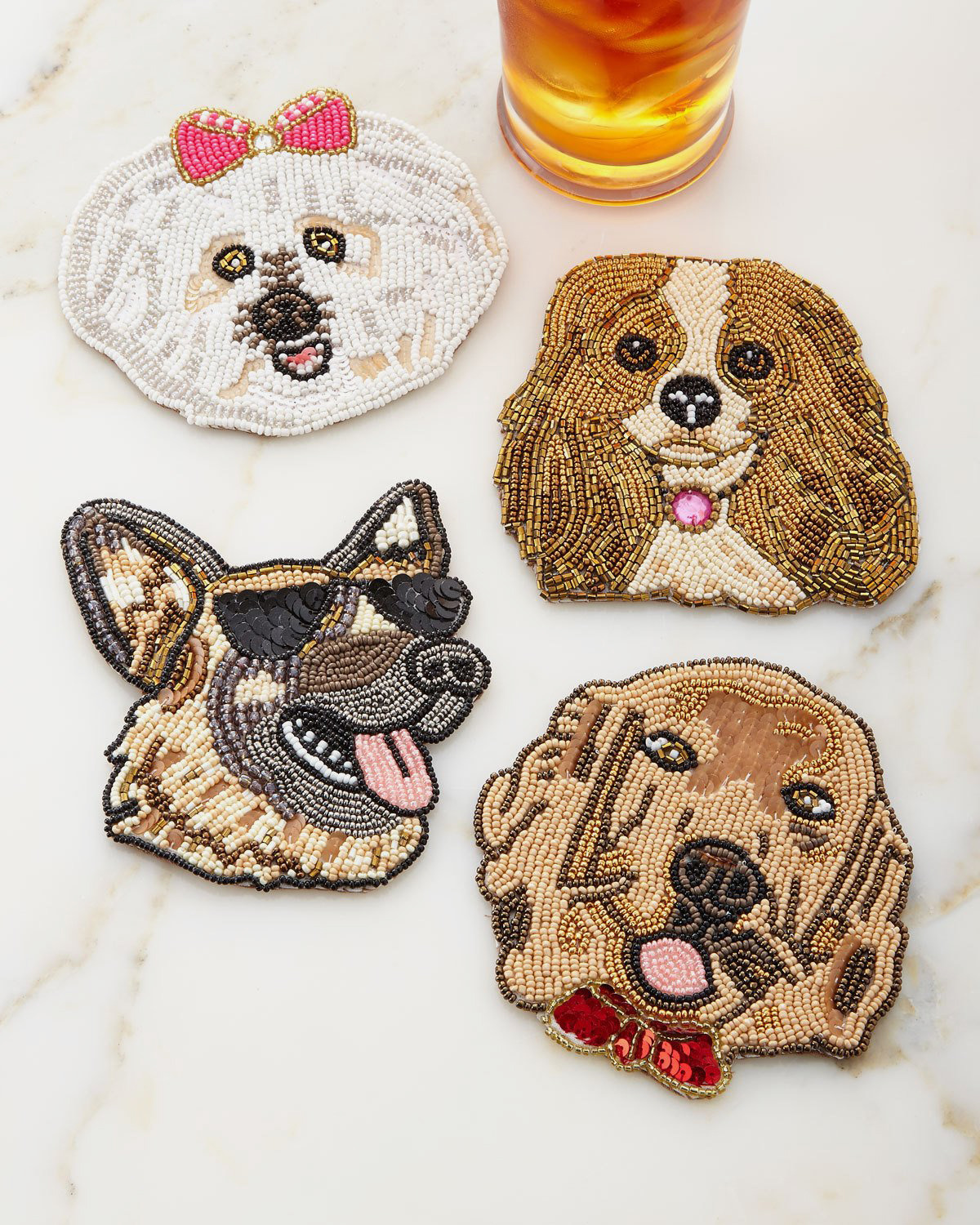 Kim Seybert Fetch Dog Coasters, Set of Four