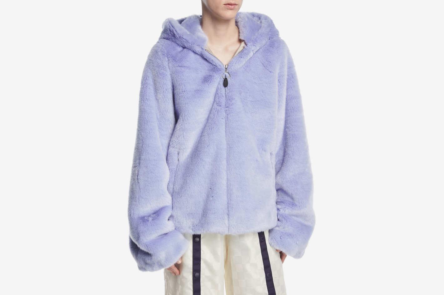 Fenty Puma by Rihanna Faux-Fur Zip-Front Hooded Oversized Jacket