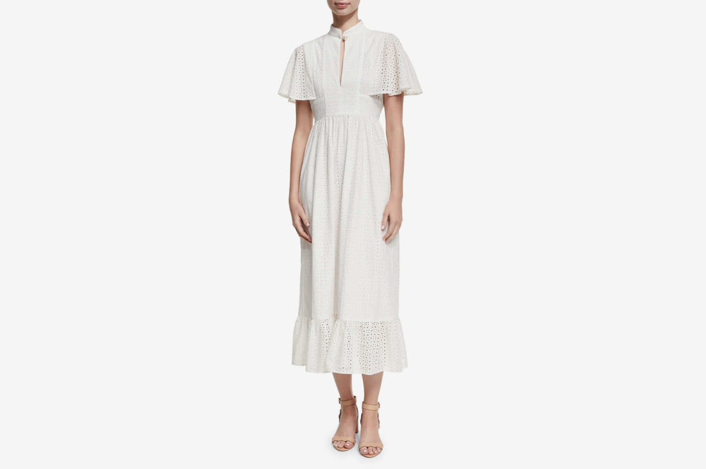 Alexa Chung Frill Hem Eyelet Cape Dress