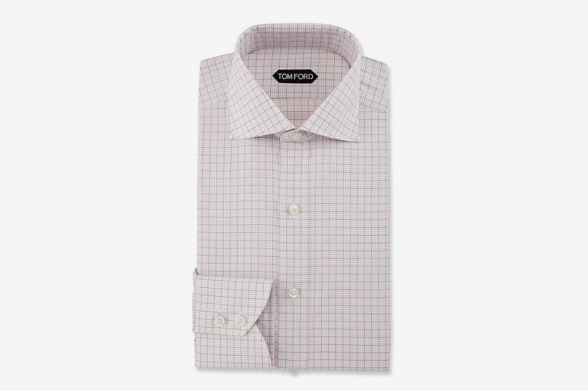 Slim-Fit Grid Check Dress Shirt