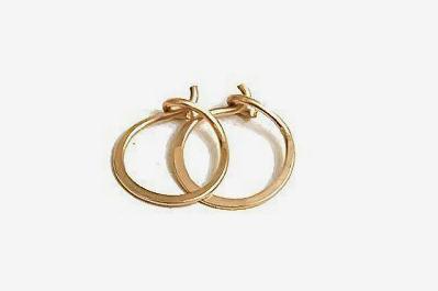 14K Gold Flat Endless Huggie Classic 10MM Hoop Earrings