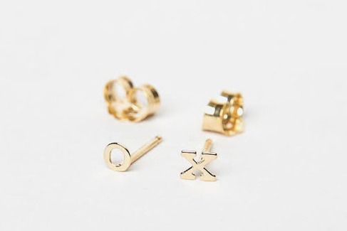 Tiny Solid 14 Karat Gold Initial Earrings