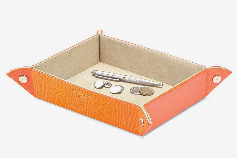 Aspinal of London Large Tidy Tray in Orange Lizard & Cream Suede