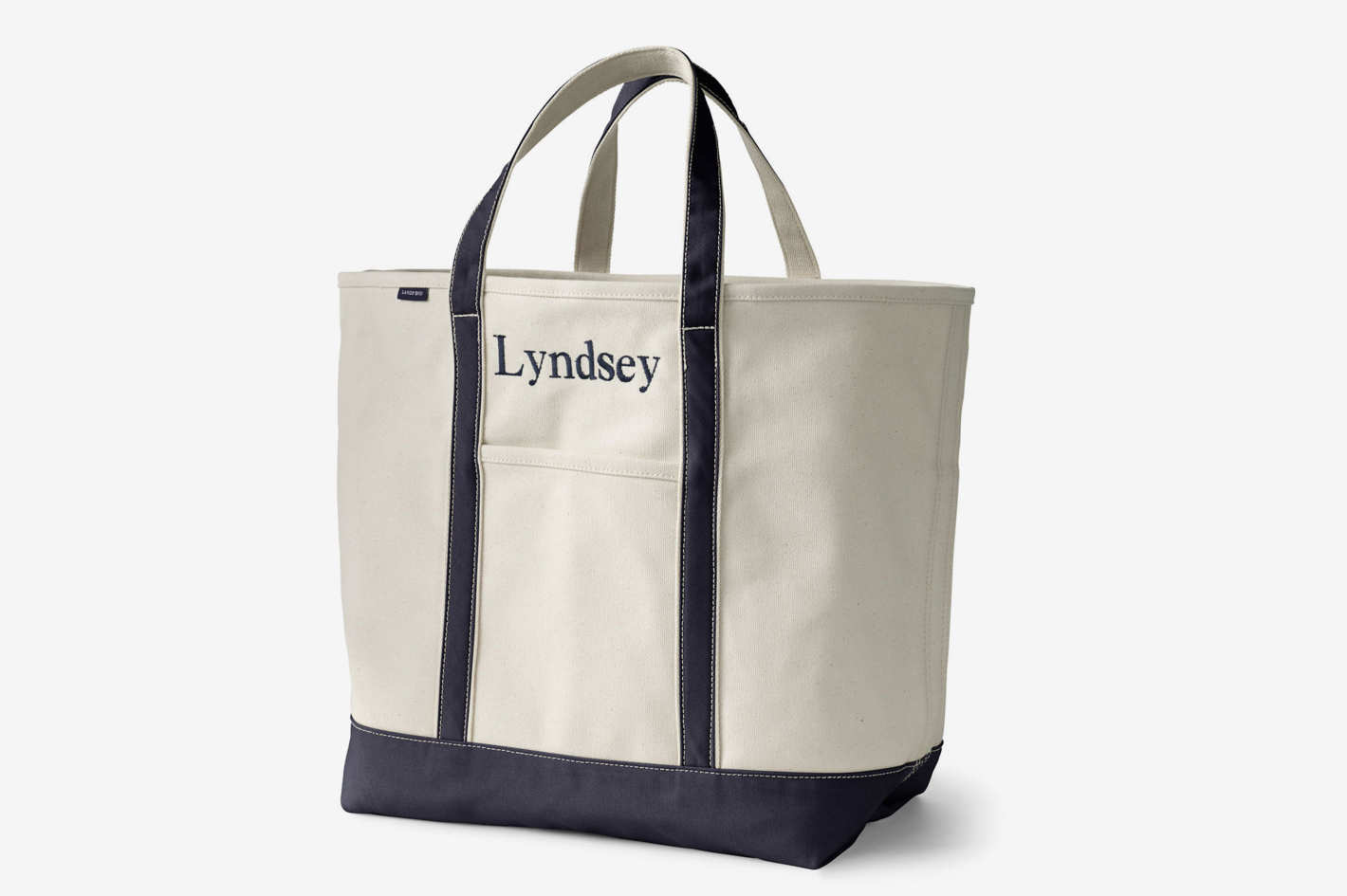 Lands' End Natural Open Top Canvas Tote Bag