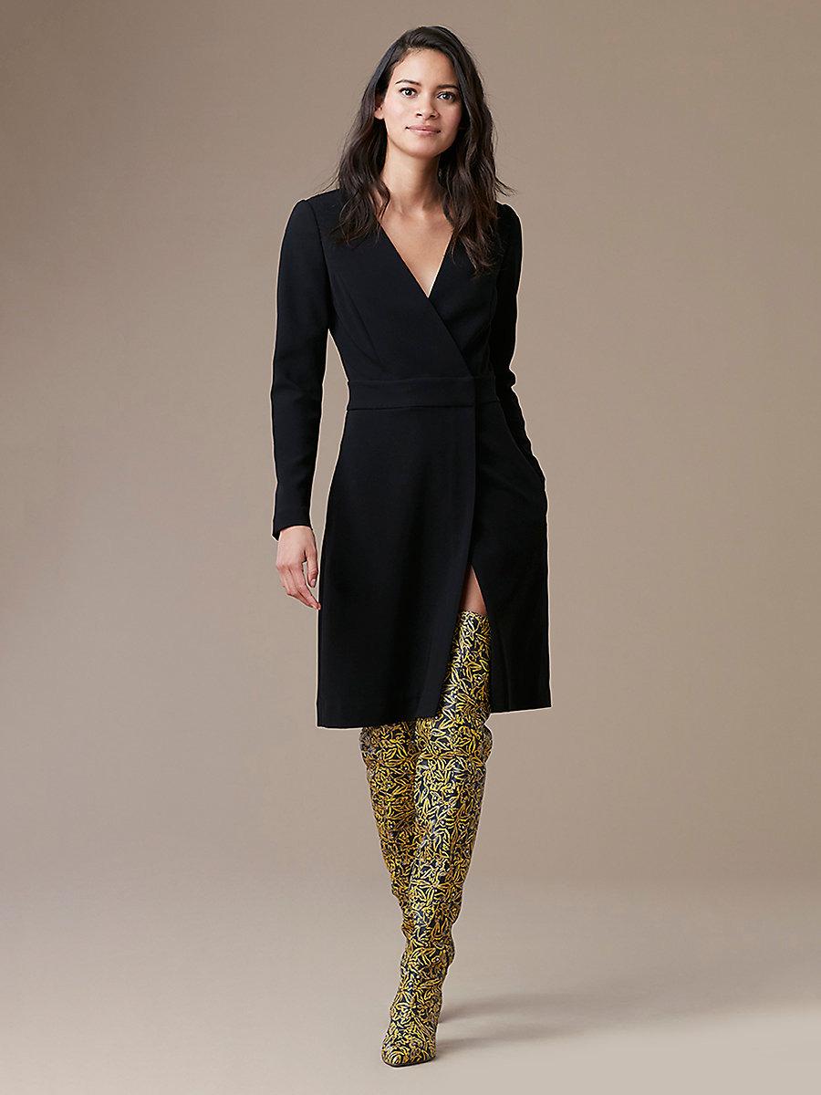Long Sleeve A-Line Wrap Dress