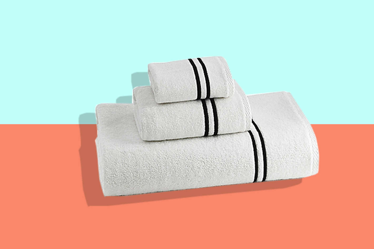 Kassatex Baratta Turkish Cotton Bath Towel in White/Black