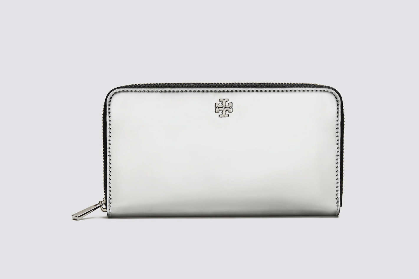 Tory Burch Robinson Mirror Metallic Zip Continental Wallet