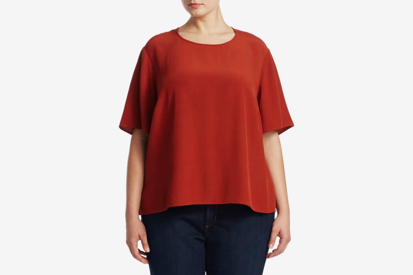 Eileen Fisher, Plus Size Roundneck Short-Sleeve Blouse