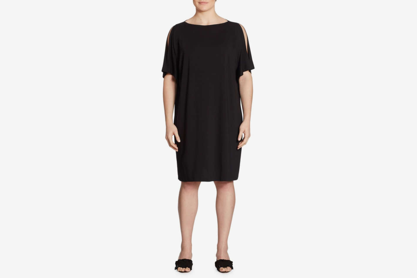 Eileen Fisher, Plus Size Plus Cold-Shoulder Shift Dress
