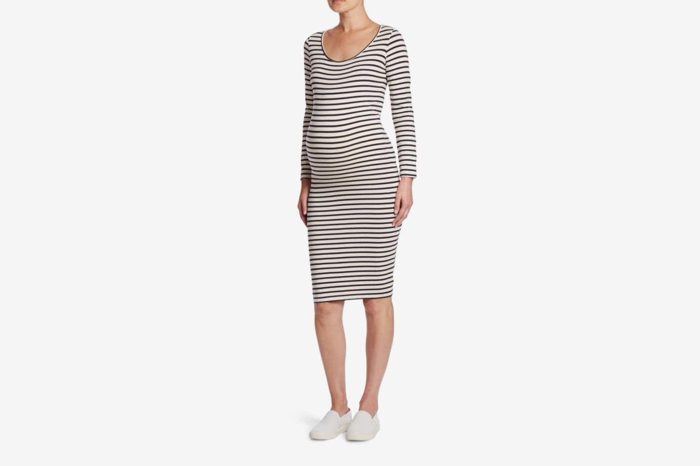 Monrow Scoopneck Maternity Sheath Dress