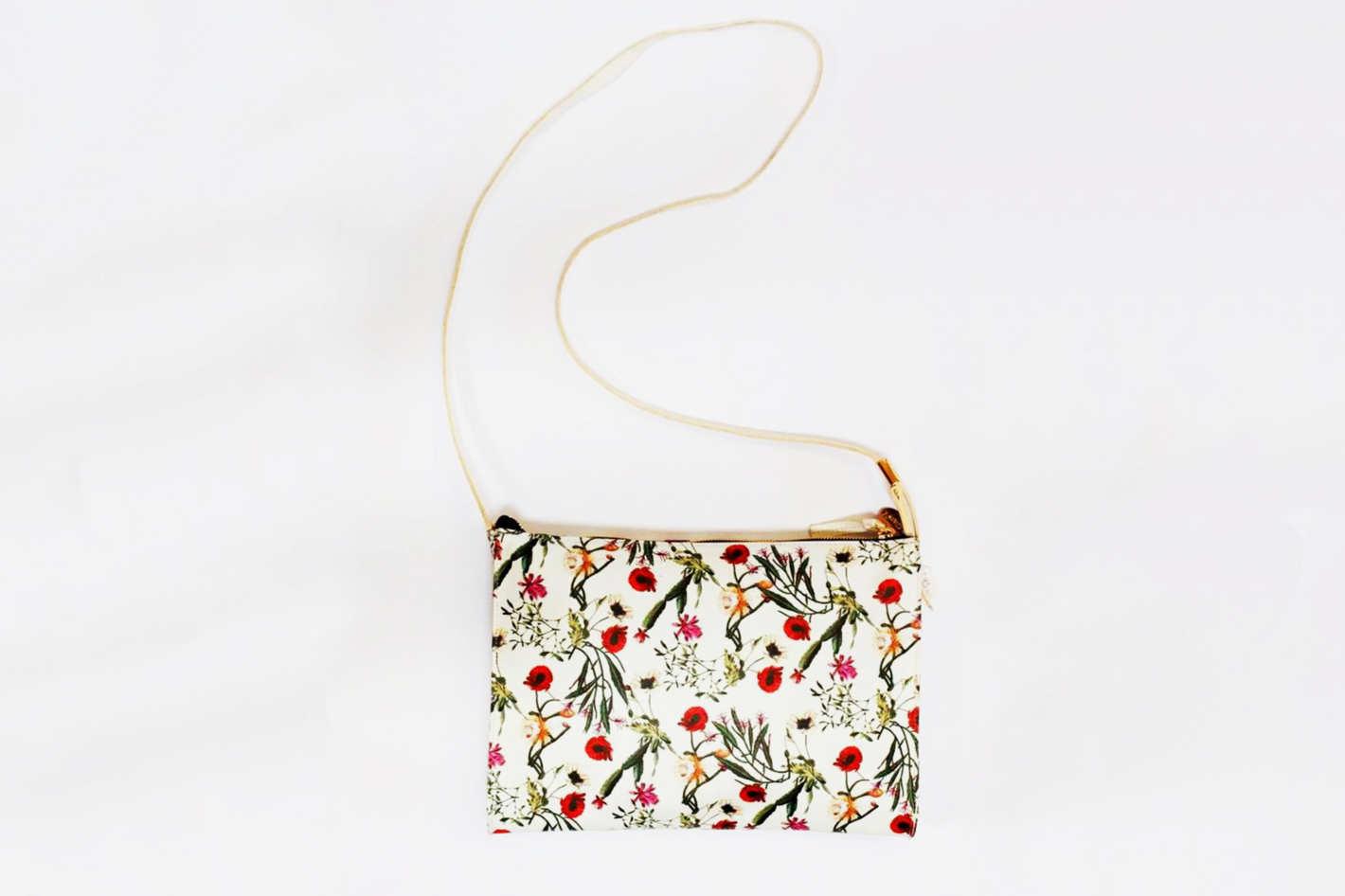 Clare V. Fabienne White Desert Floral Bag