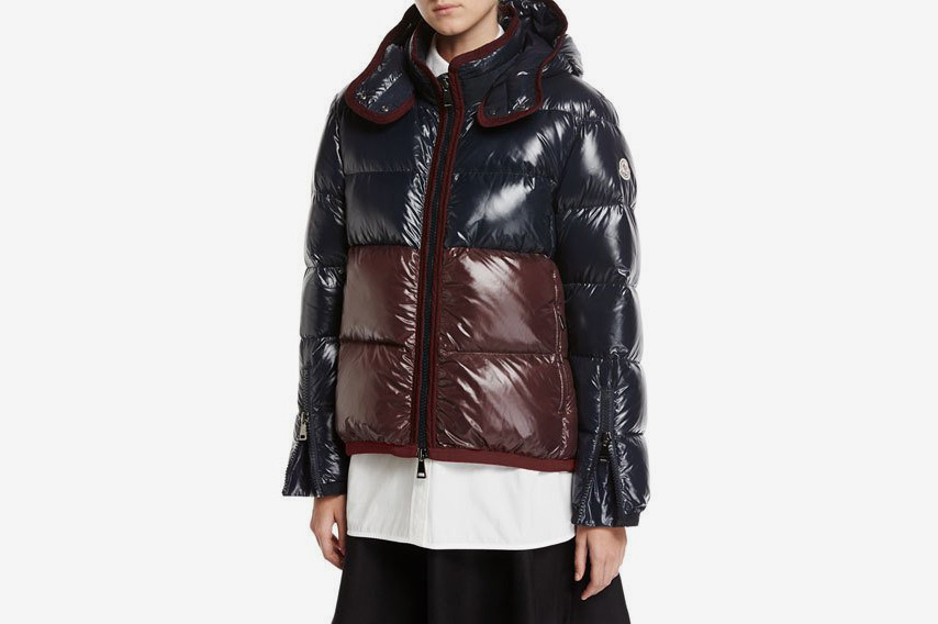 8770997d3c3 Moncler Cotinus Colorblocked Shiny Quilted Down Coat