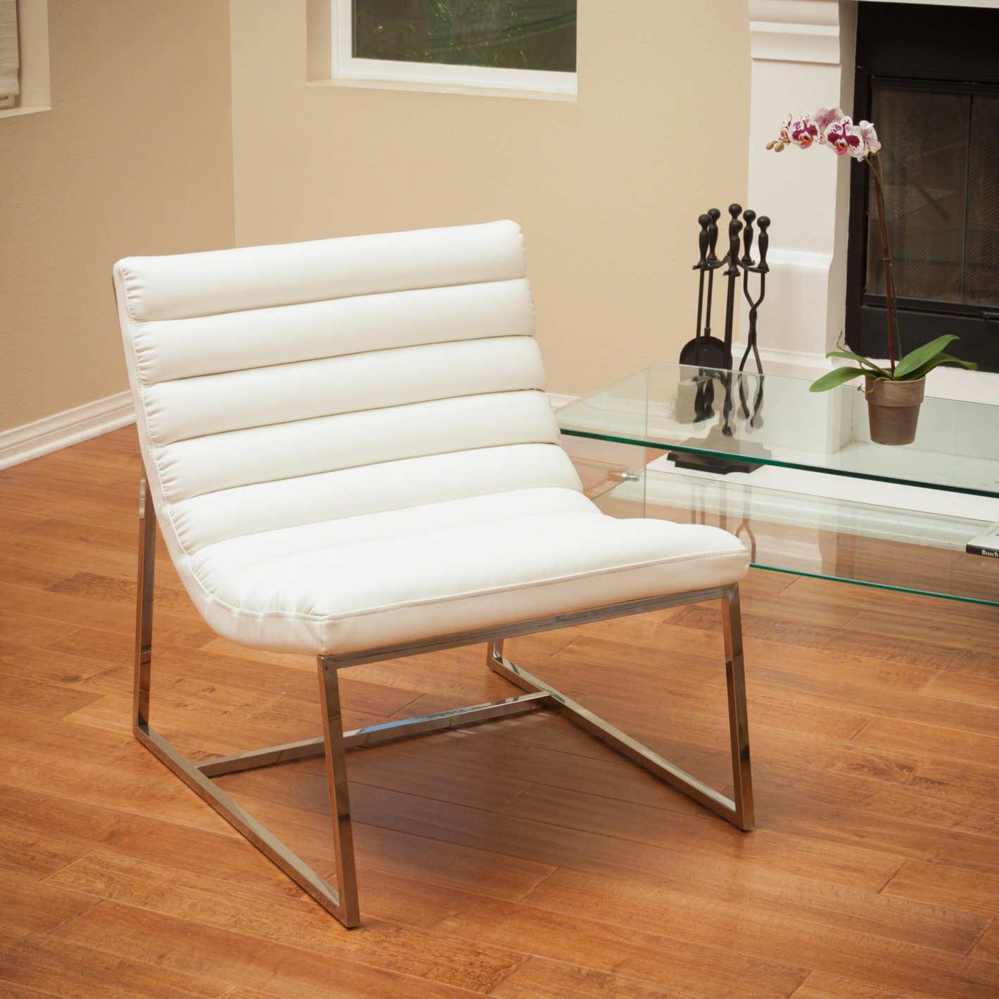 GDF Studio Ishan White Leather Sofa Chair