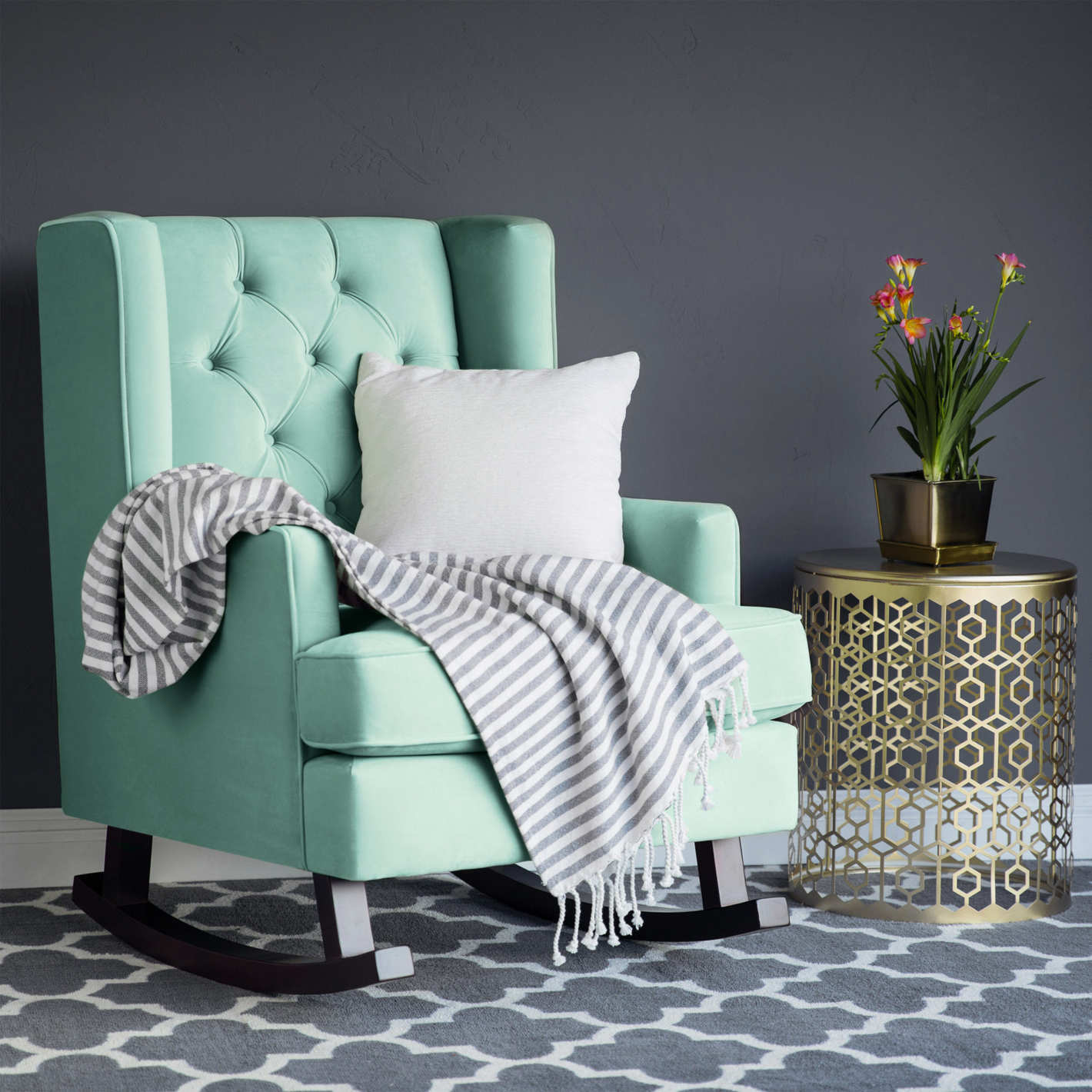 Best Choice Products Tufted Luxury Velvet Wingback Rocking Accent Chair