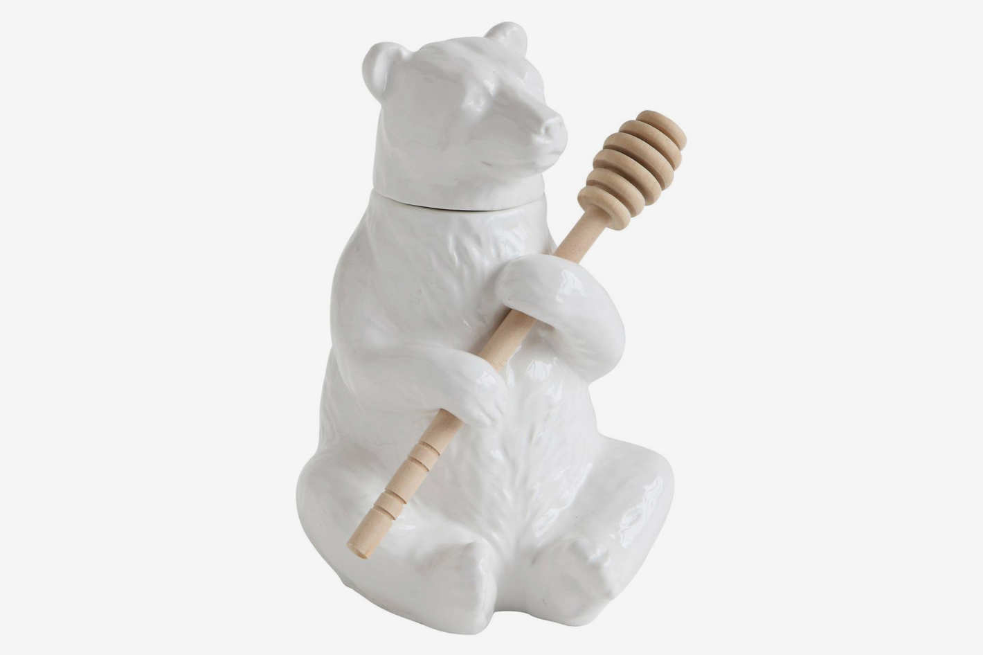 Creative Co-op Ceramic Bear Honey Pot