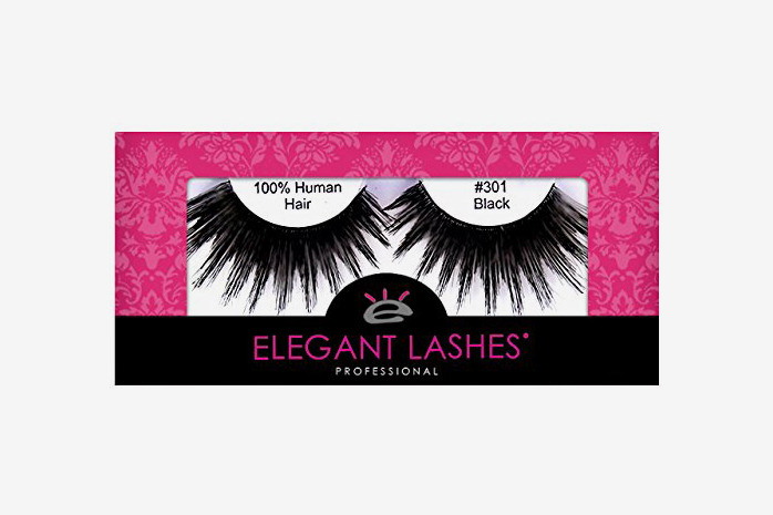 Elegant Lashes #301 Thick Long Black Drag Queen Human Hair False Eyelashes