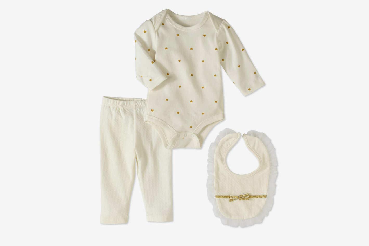 Bon Bebe Newborn Girl Bodysuit, Pants & Bib