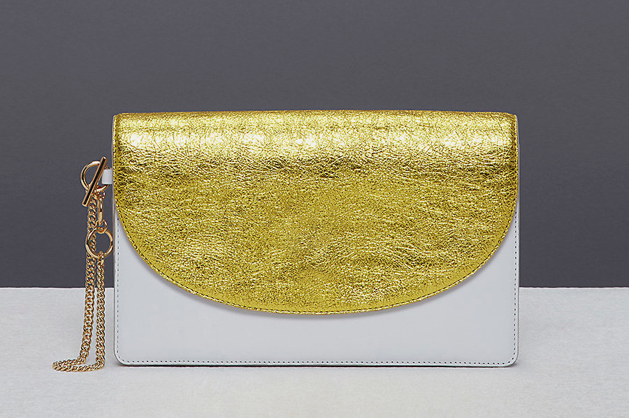 Diane von Furstenberg Metallic Saddle Evening Clutch