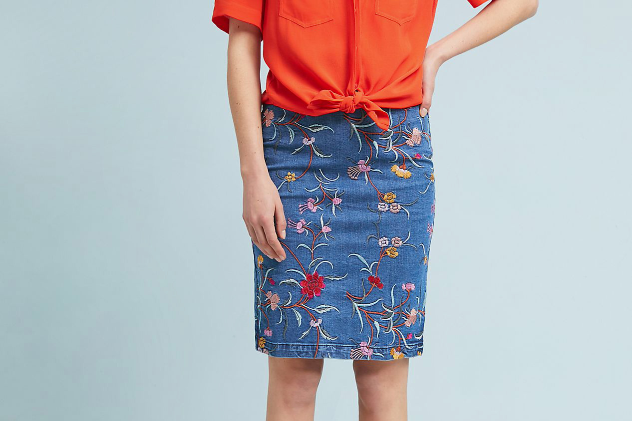 Maeve Embroidered Denim Pencil Skirt