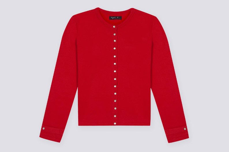 Agnès B. Women's Red Cardigan