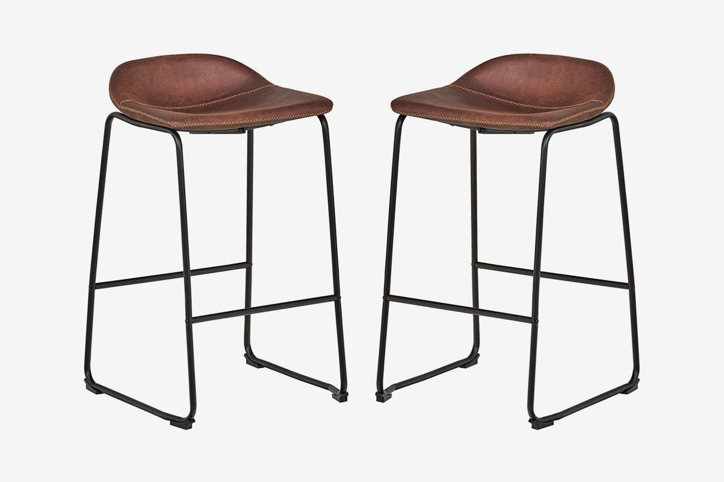 Rivet Mid-Century 2-Pack No-Back Bar Stools
