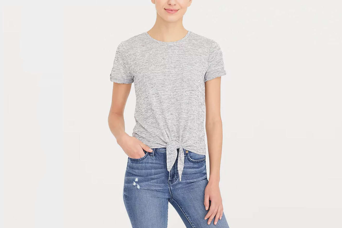 J.Crew Factory Space-Dyed Tie-Waist Pocket T-shirt