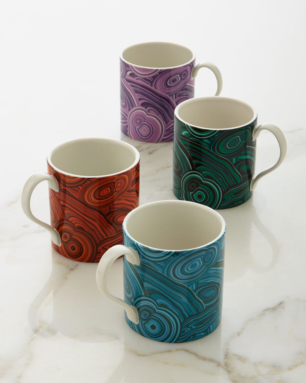 Jonathan Adler Malachite-Patterned Mugs, 4-Piece Set
