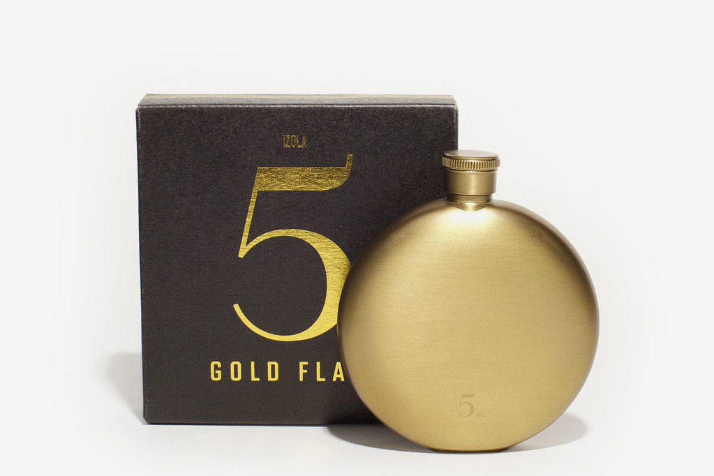 Izola Personalized Gold Flask