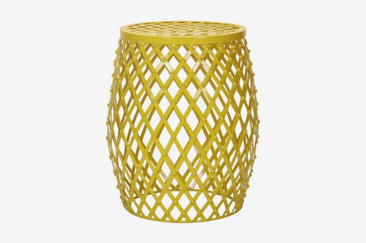 Adeco Yellow Hatched Diamond Pattern Round Iron Stool