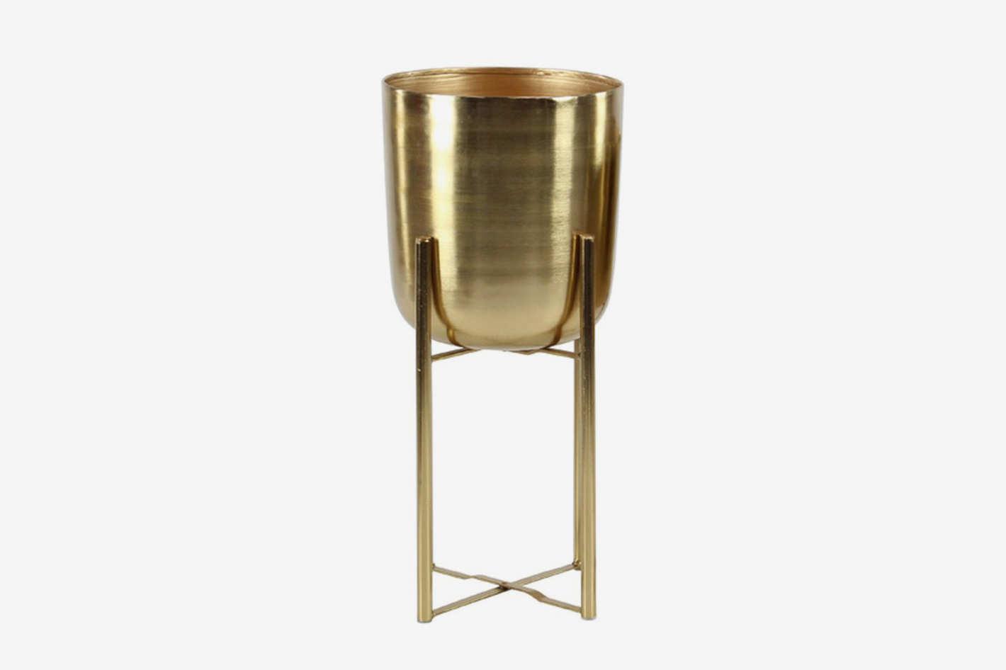 UMA Small Gold Metal Planter