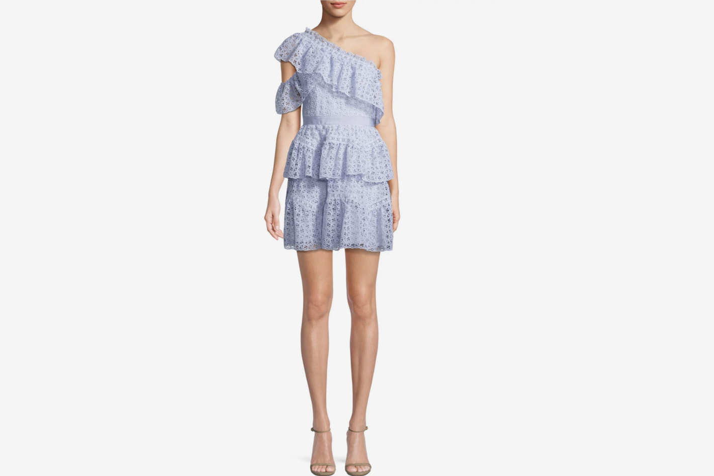 Self-Portrait One-Shoulder Organza Ruffle Mini Dress